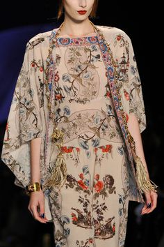 Anna Sui Fall 2014 -There is something very ageless about this ensemble. beautiful embroidery