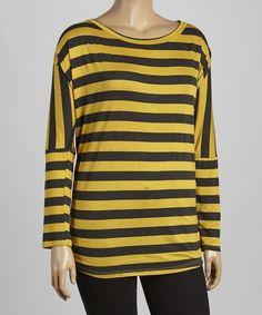 This Mustard & Gray Stripe Dolman Top - Plus is perfect! #zulilyfinds