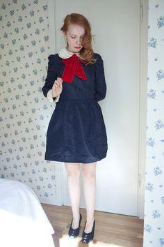 Vintage 1960s school girl dolly navy bow dress. $88.00, via Etsy.