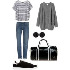 A fashion look from October 2014 featuring Monki cardigans, Athleta t-shirts and dVb Victoria Beckham jeans. Browse and shop related looks.