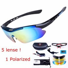 [Visit to Buy] 5 lens sports eyewear tactical polarized men shooting glasses airsoft glasses myopia for camping hiking cycling glasses #Advertisement