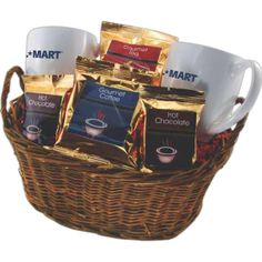 Where are the donuts and cookies? Gift basket with coffee, tea and mugs