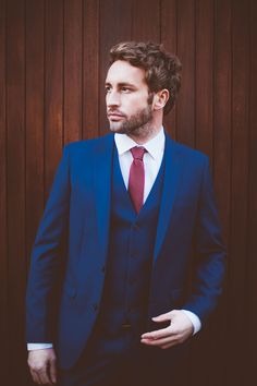 Dapper Three Piece Suit in blue with Red Skinny Tie // Photographed by Joshua Porter // Model Jason Cook