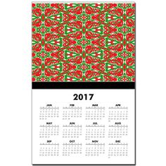 Red, Green and White Kaleidoscope 3375 Calendar. Each new year is populated during the month of November.