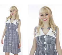Joseph Magnin Mod Plaid Dress Mod 60s 70s Mini A-Line Cute Collar Buttons Scooter Retro Sixties 1960s Twiggy 1970s  Indie Small S Medium M (38.00 USD) by neonthreadsdesigns