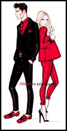 Hayden Williams Fashion Illustrations: 'Rouge et Noir' by Hayden Williams