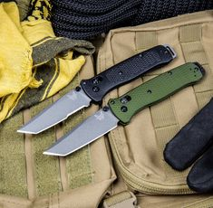 Benchmade is changing the tactical game once again, with the lightweight and nimble 537 Bailout Series, now with upgraded handle material and steel! This slim, pocket friendly folder weighs in at just over 2.5 ounces, with a forest green aluminum handle and a gray Cerakote finished tanto blade. CPM-M4 super steel provides a tough cutting edge with excellent retention. The extended aluminum pommel lanyard slot features a glass breaker. It has a reversible pocket clip to complete the package. Glass Breaker, Folding Knives, Slot, Blade, Handle, Pocket, Steel, Gray, Design