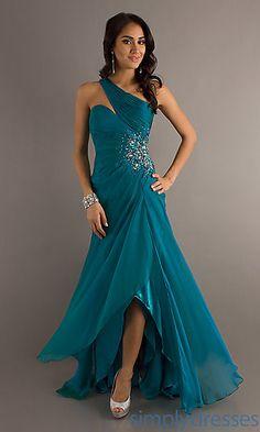 One Shoulder Long Dress with Embellished Waist at PromGirl.com