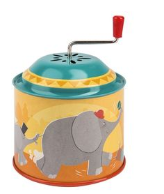 Inspired by the toys of our childhood. A colourful metal musical mill decorated with style illustrations, an elephant parade from the circus. Metal Mill, Circus Music, Elephant Parade, Look Retro, Magic Forest, French Fabric, Gift Wrapping Services, Metal Toys, French Brands