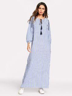 Benuynffy Fashion Striped Tie Tassel Embroidery Casual Dress Long Women Spring Autumn Long Sleeve O-neck Maxi Dress Linen Shirt Dress, Linen Dresses, Casual Dresses, Abaya Fashion, Muslim Fashion, Fashion Dresses, Ootd Fashion, Latest Fashion, Hijab Style Dress