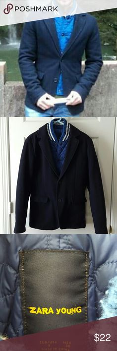 Zara Young Men's Blazer Jacket Fitted men's blazer. In used condition, with some pilling around the neck and normal wool wear. Still a lot of life left to this fashion forward blazer.   Outer wool shell is a darker navy and interior vest is a brighter blue. Picture 1 best shows colors.  A trip to the dry cleaners could breathe new life into this jacket. Zara Jackets & Coats Pea Coats