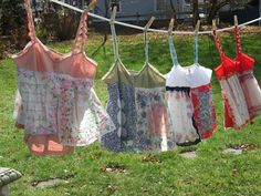 Camisoles from vintage hankies.