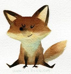 Little Fox Illustration Print // by ssebong