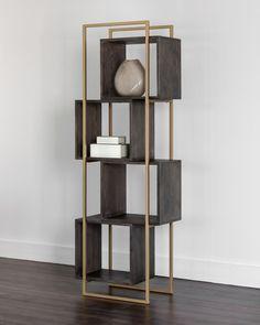 Steel Furniture, Deco Furniture, Home Furniture, Furniture Design, Wall Shelves Design, Bookshelf Design, Gold Interior, Shop Interior Design, White Bookshelves