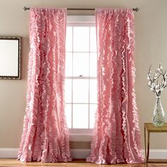 Girls Pink Gypsy Window Curtain Single Panel Light Pink Color Bohemian Ruffled Pattern Layered Overlapping Ruffles Gypsies Hippie Themed Hippy Layers