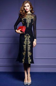 6b670f9016 elegant womens high-ended dress embroidery skirts long sleeve mesh furcal  slim