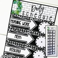 Farmhouse Flair Magnolia TILE Daily Schedule: These schedule posters are filled with black and white tiles, chalkboards, string lights, lanterns, and magnolia wreaths. They are the PERFECT classroom decor for the farmhouse classroom! Thereis an editable PowerPoint file to customize the schedule to fit your needs! #HollieGriffithTeaching
