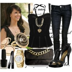 melinda gordon style  sexy black corset top with dark jeans Anna accessories