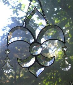 stained glass fleur de lis patterns   Other Stained Glass Art Glass Glass Pottery & Glass