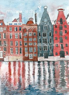 Beautiful view of Amsterdam i Netherlands. The illustration is made in watercolor and liner. Instant Download. _1 digital print (600 dpi high quality resolution). _JPEG file (18*13 cm; 7*5 inches) _Digital item, no physical items will be sent. _You get Etsy email with download link after