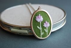 Embroidered Pendant Necklace Double Blossoms on by SeptemberHouse