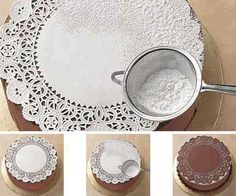 Paper Doily as stencil ~ using confectioner sugar, a small sifter, and steady hands!