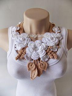 Colar de Crochê com Flores - Colar Miss Flor