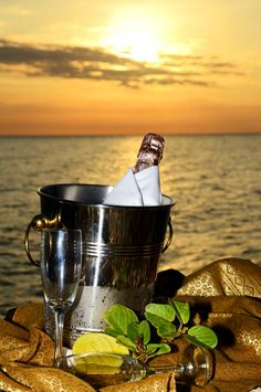 champagne at the sunset