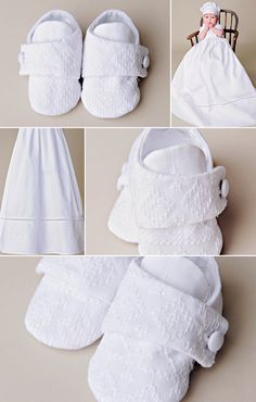 A coordinating slipper completes the look for our new Sean gown! https://www.onesmallchild.com/sean-christening-shoe.html