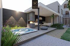 Small Backyard Design, Small Backyard Landscaping, Backyard Ideas, Pool Landscape Design, Wooden Terrace, Outside Living, Pool Houses, Pergola Designs, Outdoor Pool