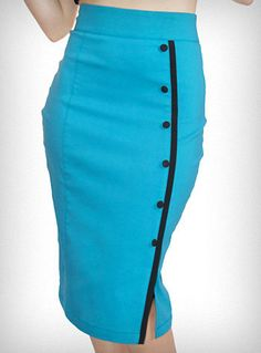 Turquoise Tease Pencil Skirt | PLASTICLAND