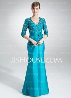 Mother of the Bride Dresses - $153.99 - Sheath V-neck Floor-Length Taffeta Mother of the Bride Dress With Lace Beading Flower(s) (008006005) http://jjshouse.com/Sheath-V-Neck-Floor-Length-Taffeta-Mother-Of-The-Bride-Dress-With-Lace-Beading-Flower-S-008006005-g6005