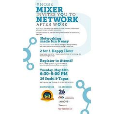 We are co-hosting the #nobemixer business networking event at @26sushi_tapas on May 26, 2015 from 6:30 to 9 pm. Join us for a night of professional social networking.    #nobe #FLSocialCon #northbeachmiami #northbeach #southflorida #soflo #miami #businesses #businessowners #socialnetworking #socialevents #26sushitapas #entrepreneurlife #entrepreneurs #smallbusiness #businesslife #businesswomen #businessmiami #negociosmiami #sflbusiness #sflprofessionals   (at 26 SUSHI & TAPAS)