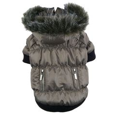 Keep your pet warm and stylish with this cute pet coat from Pet Life. Featuring a faux fur zippered hood, functional back pockets, and Thinsulate material, this metallic ski parka is sure to turn heads and keep tails wagging during cold-weather walks.