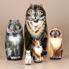 Hand Crafted Cat Nesting Dolls, Imported from Russia