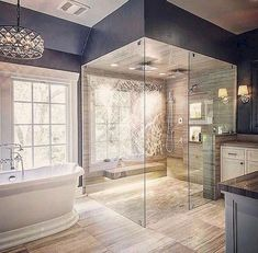 33 Surprising Modern Master Bathroom Decor Ideas - Page 25 of 36 Luxury Master Bathrooms, Modern Master Bathroom, Dream Bathrooms, Small Bathroom, Bathroom Mirrors, White Bathrooms, Minimalist Bathroom, Mansion Bathrooms, Bathroom Faucets