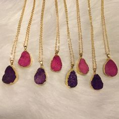 "•SALE! Druzy pendant necklaces• ⭐️5 STAR RATED⭐️Choose your stone from the photo. Available in dark purple and hot pink. Chain is 20"" long with adjustable links.   •PLEASE DO NOT PURCHASE THIS LISTING. I WILL SET UP A BRAND NEW LISTING JUST FOR YOU•  Jewelry Necklaces"
