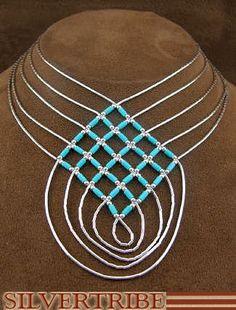 Hand Strung Liquid Sterling Silver & Blue Turquoise Basket Weave Necklace LS46BT