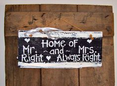 Mr and Mrs Barn Wood Sign Hand Painted Wedding by JunkWorxxEtc,