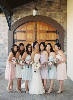 Pastel bridesmaid dresses #bridesmaid