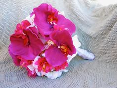 Hot Pink Magenta Orchid Fuchsia Pearls Shells by ExpressionsFloral, $79.10