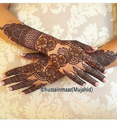 Henna @hussainmaaz Mehndi Designs Feet, Floral Henna Designs, Beginner Henna Designs, Full Hand Mehndi Designs, Stylish Mehndi Designs, Mehndi Design Pictures, Wedding Mehndi Designs, Henna Designs Easy, Beautiful Mehndi Design