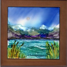 "Original Alcohol Ink Ceramic Tile -6""x6"" tile- Hand Painted- Seascape- Mountains - Cattails- water - light wooden frame"