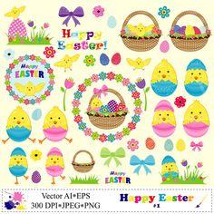 Happy Easter Clip Art Set Easter Basket Chicken by VRDigitalDesign