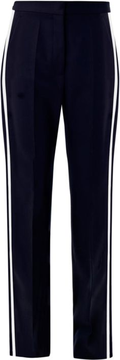 Stella McCartney gives modern tailoring a sport-luxe vibe with these navy Cyrille tux trousers. Cut from pure wool, they're a flattering and comfortable daytime option. Elevate the wide leg with pin-thin heels.