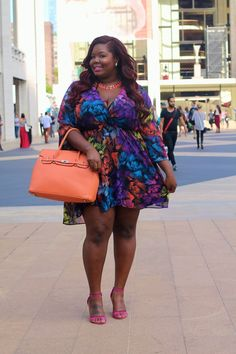 Colorful curvy fashion. Beautiful dress and model . . .