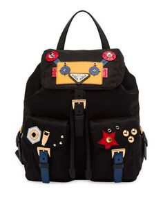 Robot+Small+Two-Pocket+Backpack,+Black/Multi+(Nero)+by+Prada+at+Neiman+Marcus.