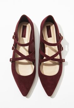 Faux Suede Strappy Flats |