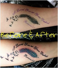 #rework #beforeandafter #romans #feather #color #birds #tattoo #studio13tattoomg