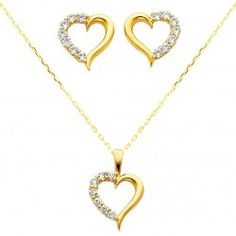 14k Yellow Gold Heart Cz Necklace And Earrings Set Of Solid